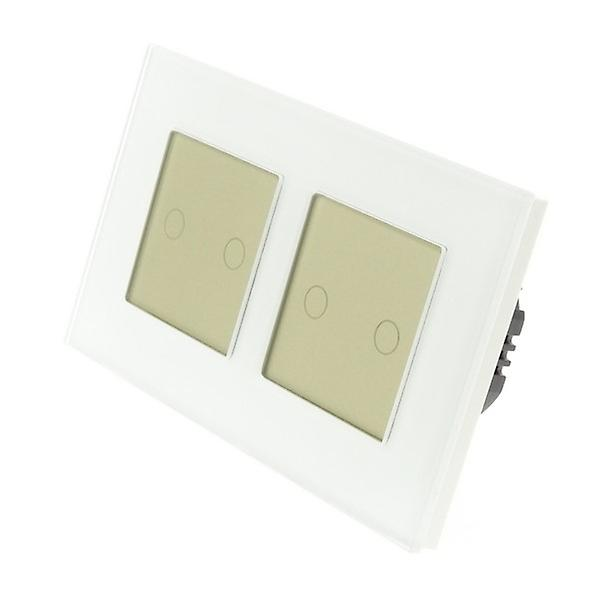 I LumoS White Glass Double Frame 4 Gang 2 Way WIFI/4G Remote Touch LED Light Switch Gold Insert