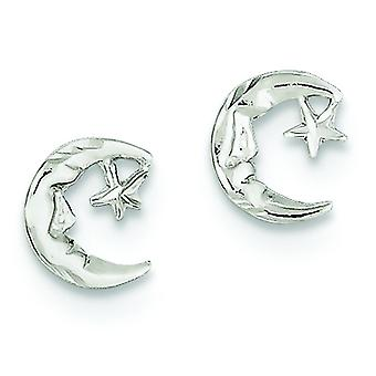 925 Sterling Silver Polished Post Earrings Celestial Moon and Star Mini for boys or girls Earrings