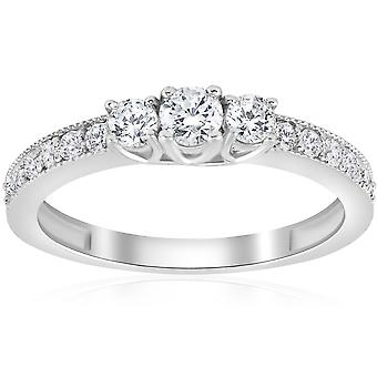 1 / 2ct 3 - sten runt Diamond Ring 14K vitt guld