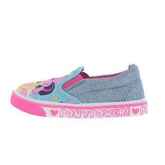 Girls My Little Pony MLP Casual Canvas Blue Glitter Sparkle Shoes UK Sizes 6 to 12
