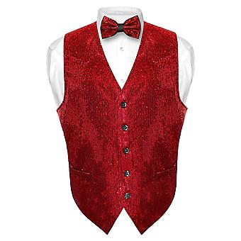 Men's SEQUIN Design Dress Vest & Bow Tie BOWTie Set for Suit Tux