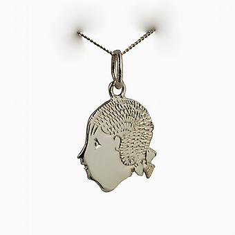 9ct Gold 16x15mm Girl's Head Pendant with a curb Chain 20 inches
