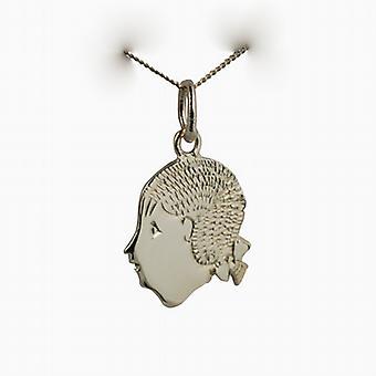 9ct goud 16x15mm Girl's hoofd hanger met een curb Chain 20 inch