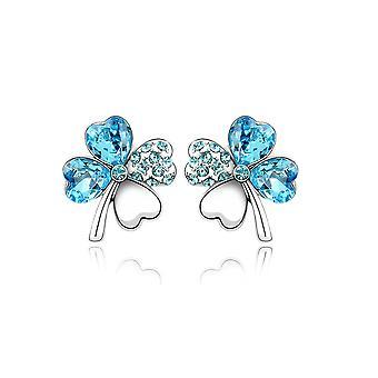 Boucles d'oreilles Femme Tréfle ornées de Cristal de Swarovski Bleu Ciel 1691