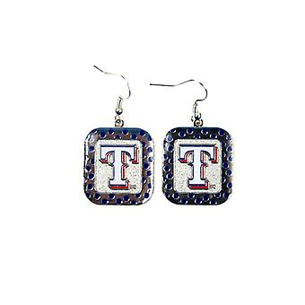 Texas Rangers MLB Polka Dot Style Dangle Earrings