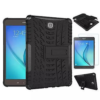 Hibrid în aer liber caz negru pentru Samsung Galaxy Tab A 9,7 T550 + 0,4 sticlă securizată