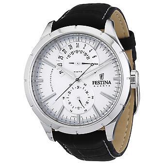 Festina Mens Black Leather Strap White F16573/1 Watch