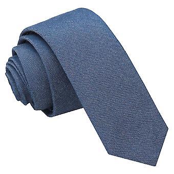 Marineblå Chambray bomuld mager slips