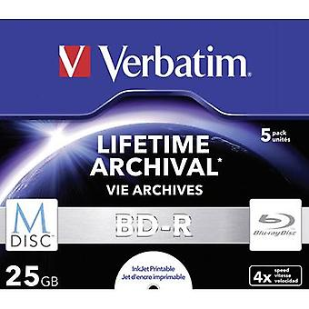 Verbatim 43823 lege M-disc Blu-Ray DVD 25 GB 5 PC (s) Jewel case afdrukbare