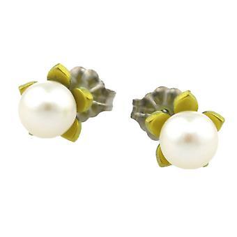 TI2 Titanium kleine Blume und Perle Ohrstecker - Zitronengelb