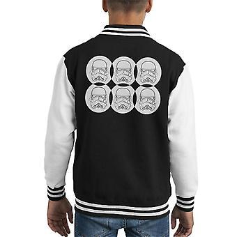 Original Stormtrooper Line Art Helmet Circles Kid's Varsity Jacket