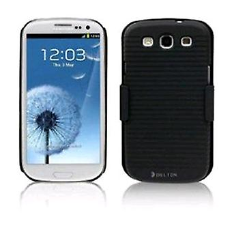Delton Shell Holster Combo Case with Kickstand & Belt Clip for Samsung Galaxy S3 i9300 - Black