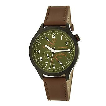 Morphic M44 Series Dual-Time Leather-Band Watch w/ Retrograde Date - Black/Green
