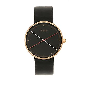 Simplify The 4100 Leather-Band Watch - Rose Gold/Black