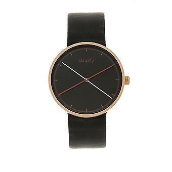 Simplificar o relógio de couro-banda 4100 - preto/ouro Rose