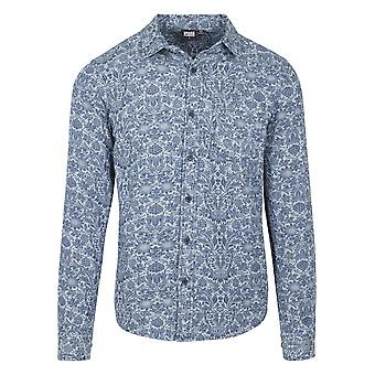 Urban classics men's long-sleeve shirt printed flower denim