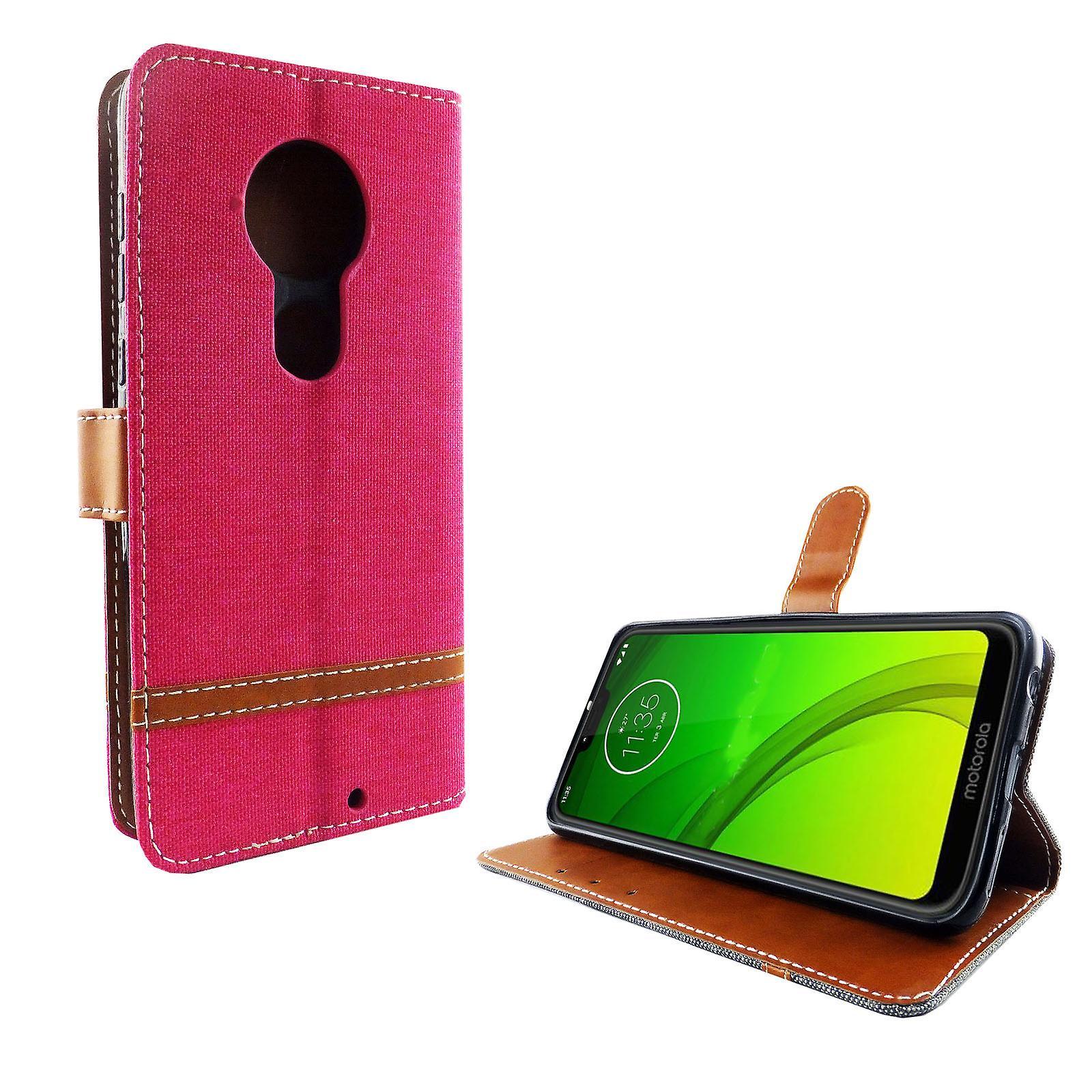 Motorola Moto G7 mobiltelefon case skyddande väska fallet täcker fack påse plånbok rosa