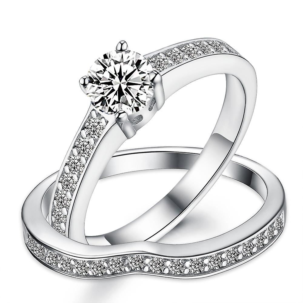 925 Sterling Silver Pave Solitaire Engagement Wedding Ring Set