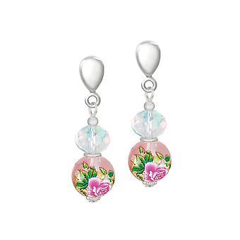 Eeuwige collectie serene roze bloemen glas en kristal zilveren Toon druppel clip op oorbellen