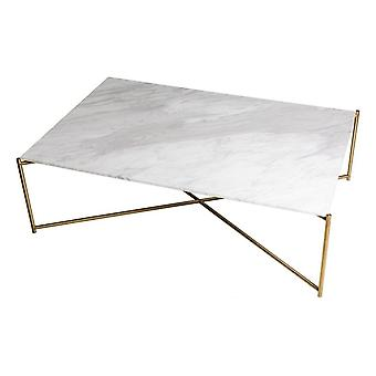 Gillmore White Marble Rectangular Coffee Table With Brass Cross Base