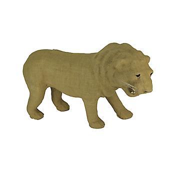 Rustic Burlap Wrapped Paper Mache Lion Sculpture