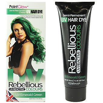PaintGlow Semi Permanent Hair Dye UV Emerald Green 2 Pack & FREE Gloves