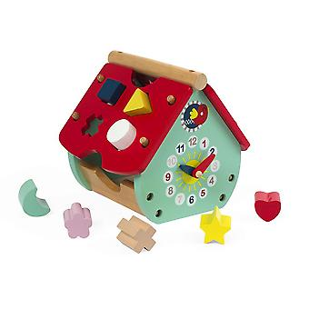 Janod Baby Forest House puinen muoto Sorter & kello
