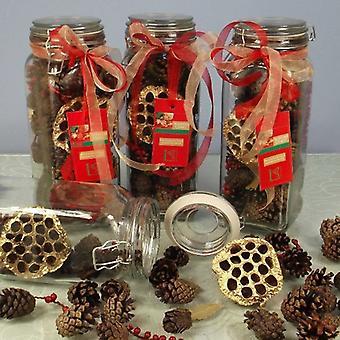 Scented Festive Cones in a Vintage Jar