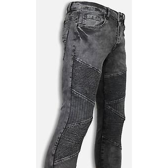 Biker Jeans - Slim Fit Denim Ribbed Knee - Grey