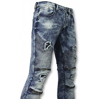 Biker Jeans - Slim Fit Ripped Jeans With Paint Drops - Blue