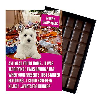West Highland Terrier Funny Christmas Gift For Dog Lover Chocolate Greeting Card Xmas Present