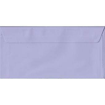 Lilac Peel/Seal DL Coloured Purple Envelopes. 100gsm FSC Sustainable Paper. 110mm x 220mm. Wallet Style Envelope.