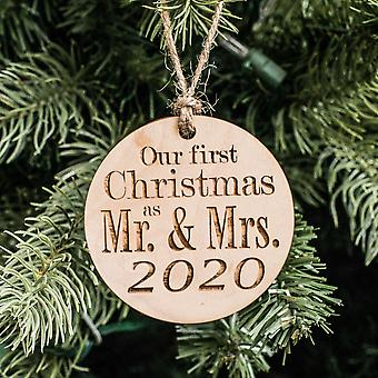 Ornament - 2020 our first christmas as mr and mrs - raw wood 3x3in