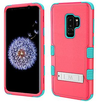 SAMSUNG GALAXY S9 PLUS MYBAT TUFF HYBRID PROTECTOR W/ METAL STAND-NATURAL BABY RED/TROPICAL TEAL