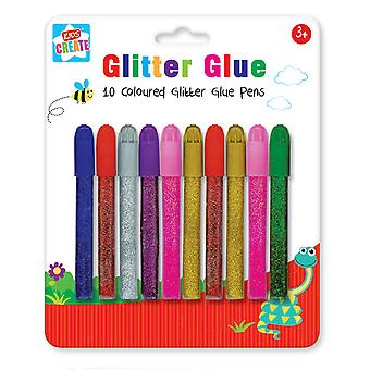 Pack 10 Colour Glitter Sparkly Glue Pens Cards Scrapbook