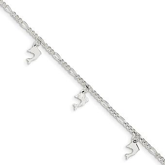 925 Sterling Silver Fancy Lobster Closure Polished and Textured Dolphin With 1in Ext. Anklet 9 Inch Jewelry Gifts for Wo