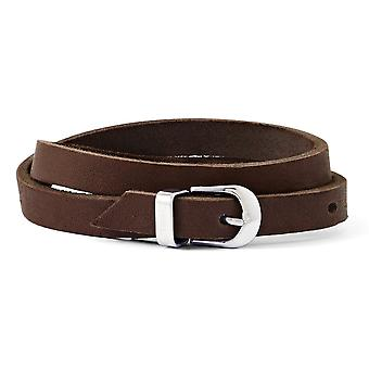 Stainless Steel Polished Brown Leather Bracelet Jewelry Gifts for Women
