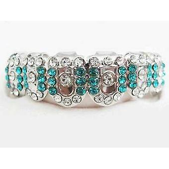 Grillz Silver Gatekeeper Iced Out Clear And Turquoise Diamonds [top]