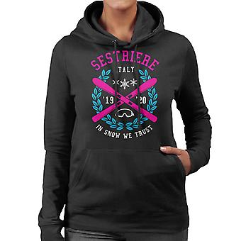 Sestriere Italy '19 '20 Skiing Crest Women's Hooded Sweatshirt