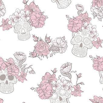 Muerte Glitter Sugar Skulls Wallpaper White / Pink Debona 8995