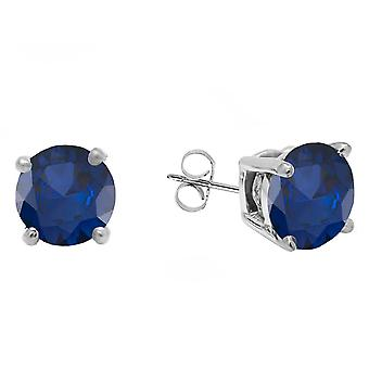 Dazzlingrock Collection 10K 5.5 MM each Round Blue Sapphire Ladies Solitaire Stud Earrings, White Gold