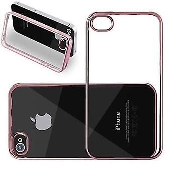 Custodia Cadorabo per Apple iPhone 4 / iPhone 4S - Custodia in TRANSPARENT con CHROM ROSEGOLD - Custodia per telefono in Silicone TPU in Chrome Design - Custodia protettiva in silicone Ultra Slim Soft Back Cover Bumper