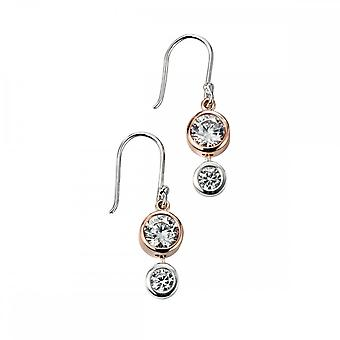 Elements Silver Elements Rose Gold Plated Double CZ Drop Earrings E4917C