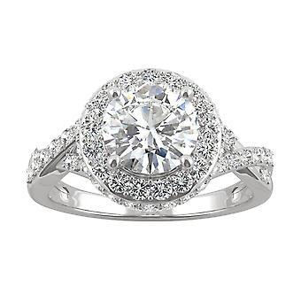 14K hvid guld Moissanite af Charles & Colvard 7.5 mm Round Halo engagement ring, 2.58 cttw DEW