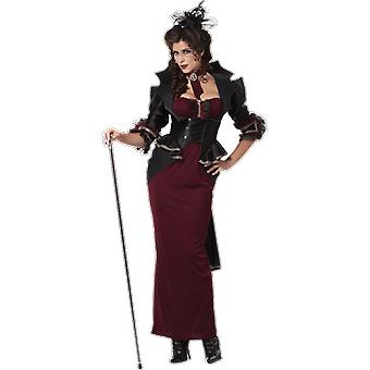 Womens Victorian Lady Vampire Halloween Gothic Fancy Dress Costume