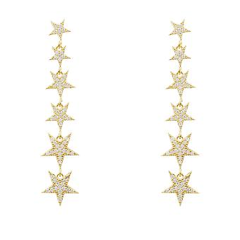 Latelita Long Stars Earrings Drop Stud Gold Sterling Silver CZ Large White