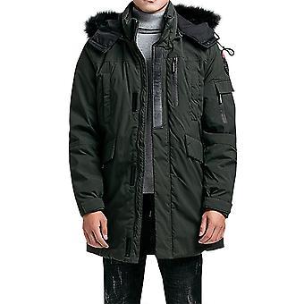 Allthemen Men's Winter Coat Mid-long Thick Removable Hood Padded Jacket