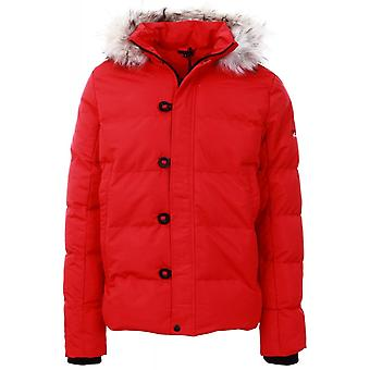 4BIDDEN Lightening Red Quilted Hooded Jacket