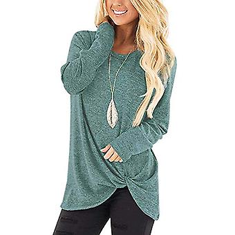 Womens Round Neck Sweaters Lightweight Solid Color, 1-blue Green, Size Large