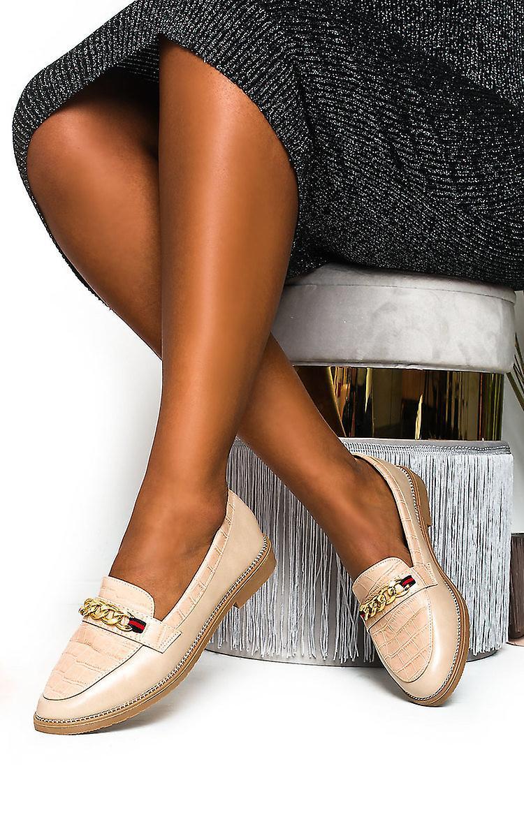 IKRUSH Womens Riley Faux Leather Chain Brogue Flats emD8F
